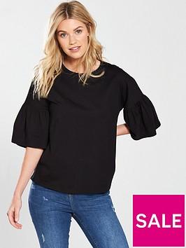 v-by-very-frill-sleeve-slouchy-t-shirt-blacknbsp