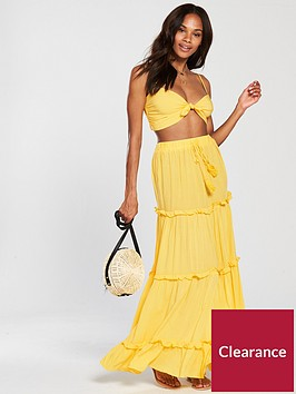 v-by-very-co-ord-beach-top-and-tiered-maxi-skirt-set-yellow