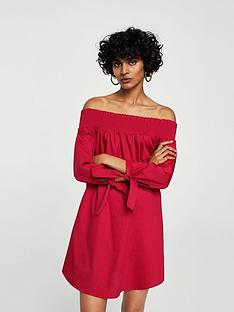 mango-off-shoulder-poplin-dress