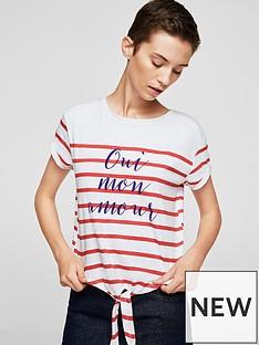 mango-striped-slogan-jersey-top