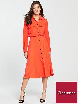 warehouse-top-pocket-shirt-dress-red
