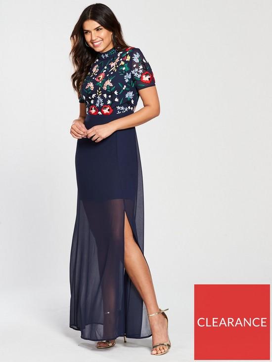 3e69c296c7 Frock and Frill Cassandra Embroidered High Neck Maxi Dress - Cobalt ...