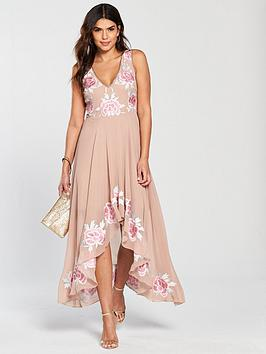 Frock And Frill Bertha Embroidered High Low Skater Dress