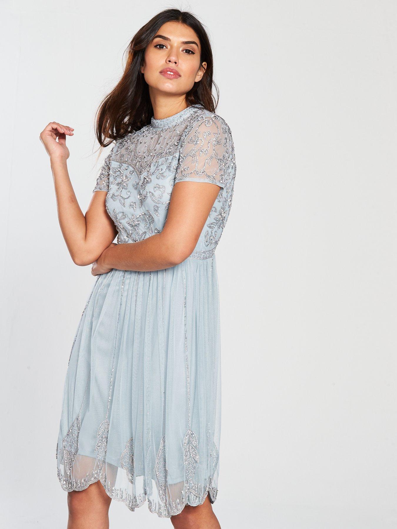 Dusky blue lace dress