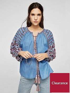 mango-embroidered-denim-blouse
