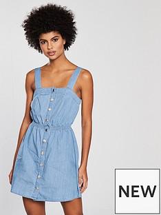 miss-selfridge-shirred-waist-pinny-dress