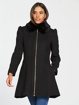 V By Very Zip Front Skater Coat