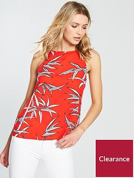 warehouse-bamboo-high-neck-cami-red