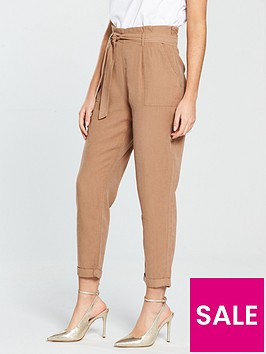 miss-selfridge-tencel-paperbag-trouser-rust