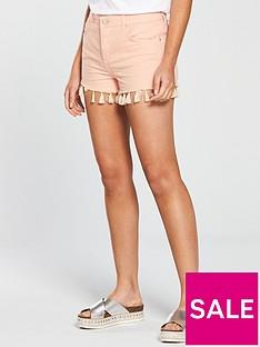 miss-selfridge-mom-tassel-hem-denim-short-pink