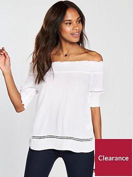 warehouse-cheesecloth-bardot-top-white