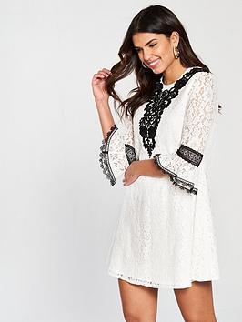 Little Mistress Crochet Trim Mini Dress - White