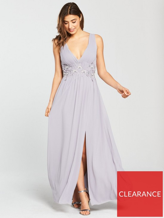 684aee5fcc0 Little Mistress Embroidered Maxi Dress - Grey