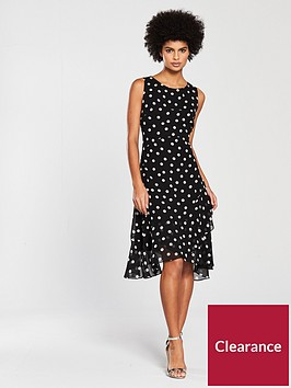 wallis-spot-hanky-hem-ruffle-dress