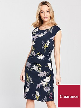 wallis-oriental-blossom-ruched-side-dress