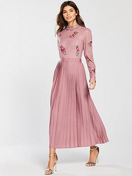 Little Mistress Embroidered Lace Pleat Bottom Midi Dress - Blush