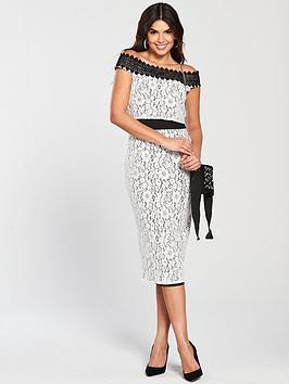 Little Mistress Crochet Trim Pencil Dress - White