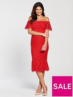 little-mistress-lace-flute-hem-midi-dress-red