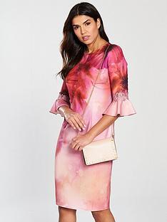little-mistress-frill-sleeve-printed-midi-dress