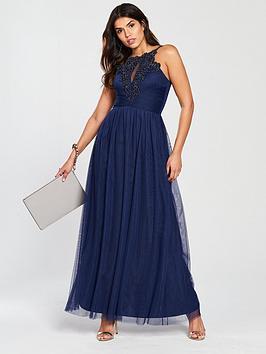 Little Mistress Crochet Trim Maxi Dress - Navy