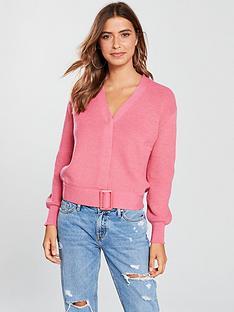 v-by-very-belted-hem-short-cardigan-pink