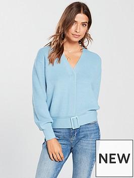 v-by-very-belted-hem-short-cardigan-blue