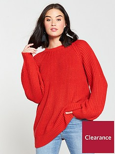 v-by-very-fisherman-rib-slouch-longline-jumper-poppy-red