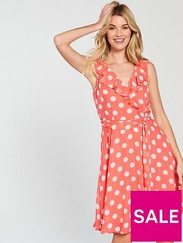 wallis-ruffle-front-dress-coral