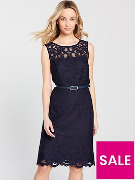 wallis-belted-lace-shift-dress-navy