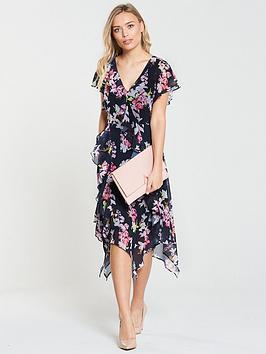 wallis-ink-floral-hanky-hem-dress-navy