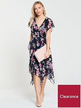wallis-ink-floral-hanky-hem-dress-navy