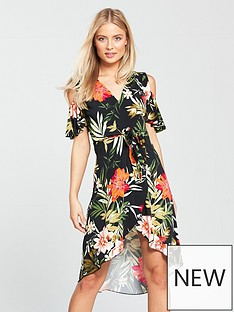 v-by-very-tropical-print-cold-shoulder-jersey-midi-dress