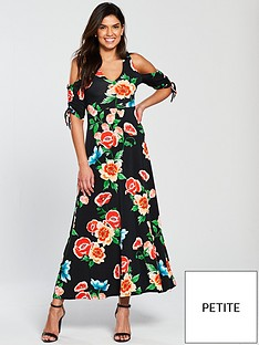 v-by-very-petite-cold-shoulder-ruched-sleeve-jersey-maxi-dress