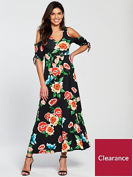 v-by-very-tall-cold-shoulder-ruched-sleeve-jersey-maxi-dress
