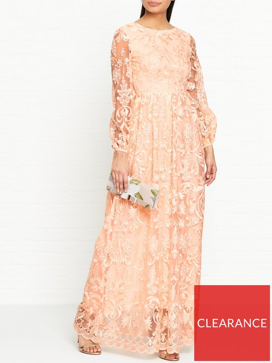 1394a069d2c TRUE DECADENCE Balloon Sleeve Embroidered Lace Maxi Dress - Peach ...