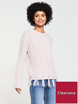 v-by-very-cable-nibbled-fringe-hem-jumper-blush-pink