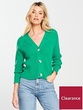 v-by-very-rib-detail-button-short-cardigan-green