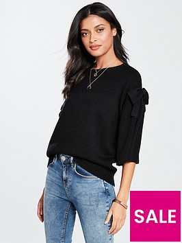 v-by-very-bow-sleeve-jumper-black