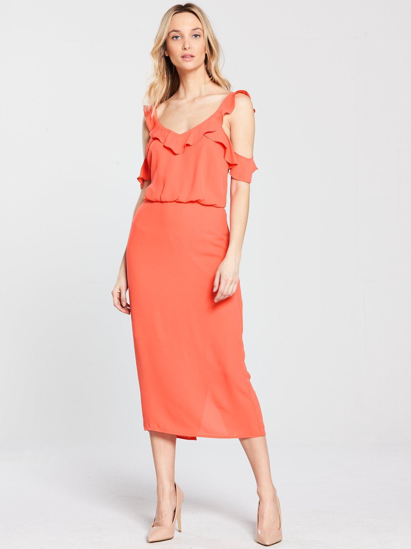 Oasis Frill Cold Shoulder Midi Dress