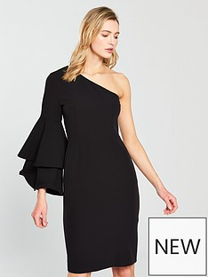 oasis-one-shoulder-dress-ndash-black