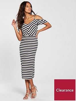 oasis-oasis-stripe-cold-shoulder-column-midi-dress
