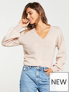 v-by-very-v-neck-blouson-sleeve-slouch-jumper-oatmeal-marl