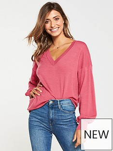v-by-very-v-neck-blouson-sleeve-slouch-jumper-blush