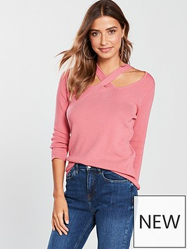 v-by-very-cut-out-crossover-detail-34-sleeve-jumper-pink