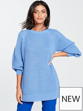 v-by-very-fisherman-rib-slouch-longline-jumper-light-blue