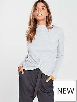 v-by-very-twist-front-skinny-rib-jumper-grey-marl