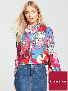 lost-ink-shirred-sleeve-floral-printed-shirt
