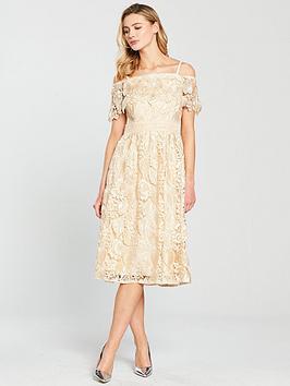Little Mistress Bardot Lace Midi Dress - Beige