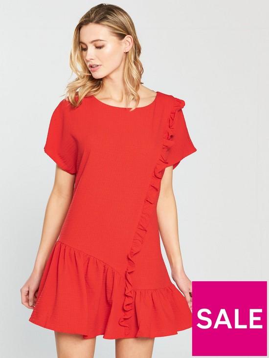 Shift Dress With Asymmetric Frill Hem - Red Lost Ink. K52xJuNUk