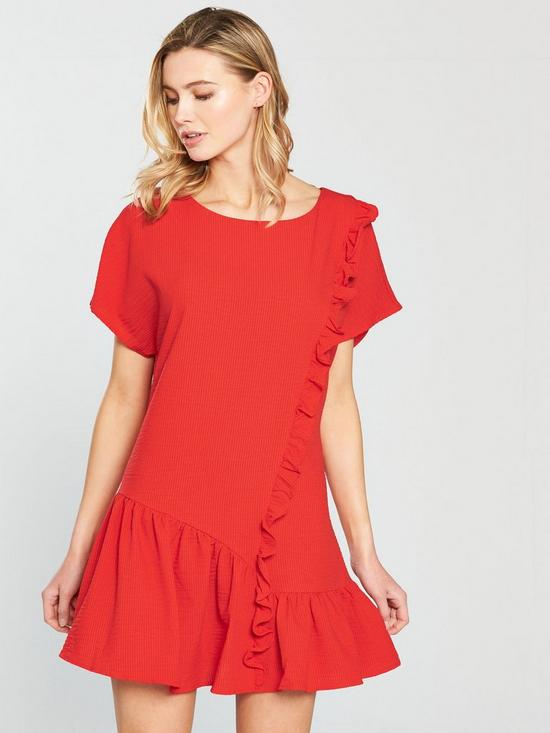 Shift Dress With Asymmetric Frill Hem - Red Lost Ink.
